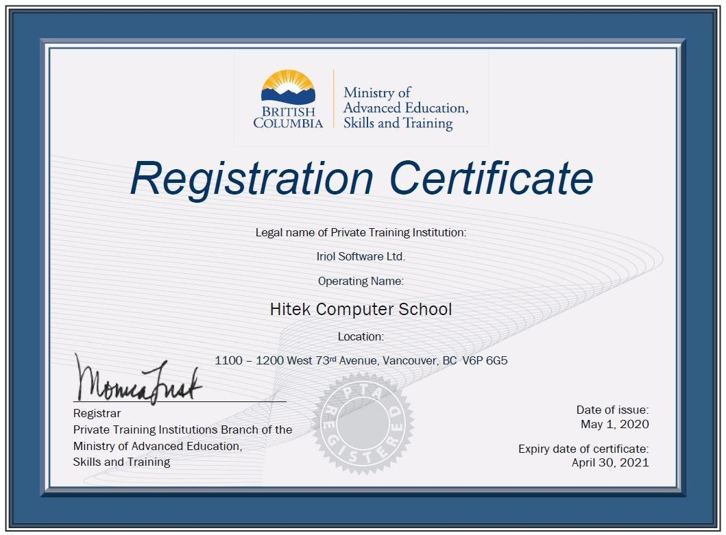 Hitek Registration status